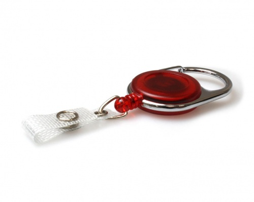 Red Translucent Carabiner ID Card Badge Reels with Strap Clip (Pack of 50)
