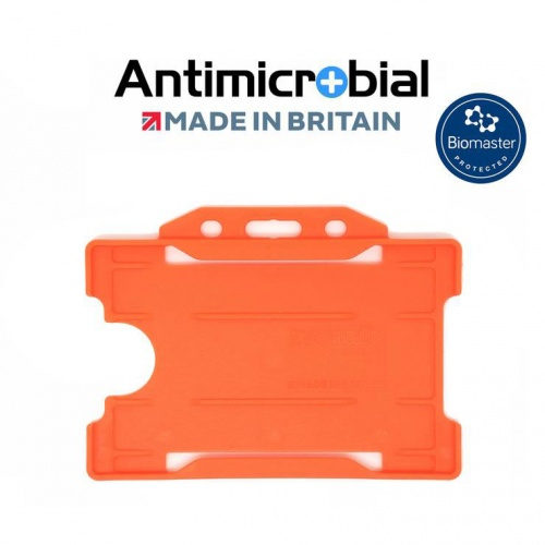 Orange Antimicrobial Single Sided ID Card Holders - Landscape (Pack of 100)