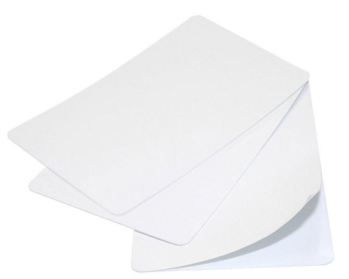 Blank White Self-Adhesive 320-Micron Plastic Cards (Pack of 100)