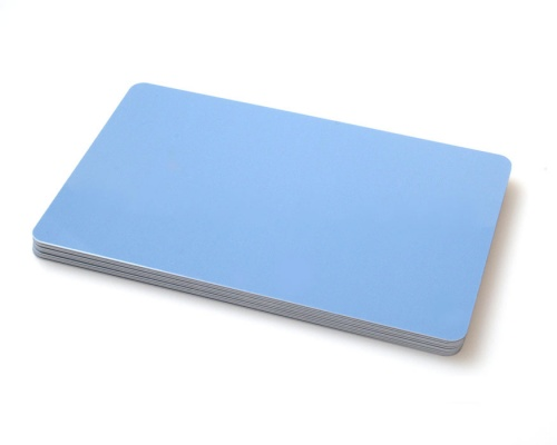 Premium Light Blue Plastic Cards - 420 Micron (Pack of 100)