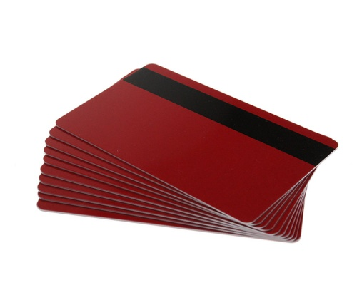 Red Plastic Cards With Hi-Co Magnetic Stripe - 760 Micron (Pack of 100)