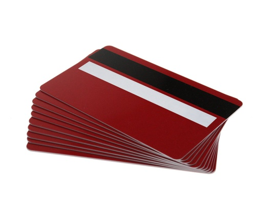 Red Plastic Cards 760 Micron With Magnetic Stripe & Signature Strip (Pack of 100)