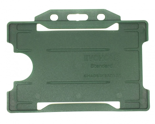 Dark Green Recyclable Evohold Single Sided Open Face ID Badge Holders – Landscape (Pack of 100)