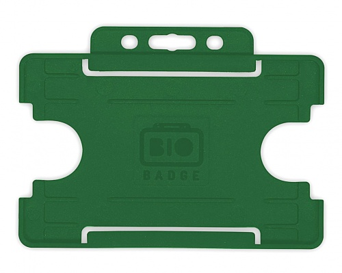 Dark Green Single-Sided Biobadge Open Faced ID Card Holder x 100