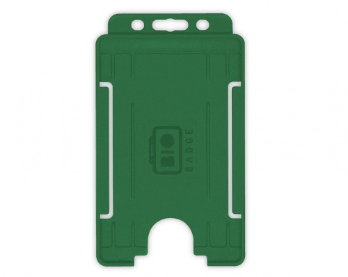 Dark Green Single-Sided BioBadge Open Faced ID Card Holder, Portrait x 100