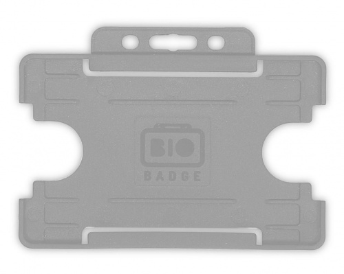 Grey Single-Sided Biobadge Open Faced ID Card Holder Landscape x 100
