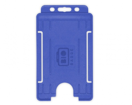 Mid Blue Single-Sided BioBadge Open Faced ID Card Holder, Portrait x 100
