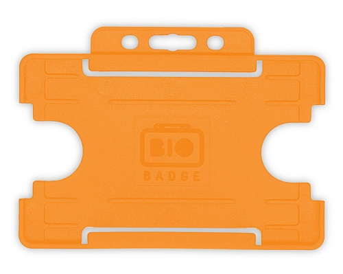 Orange Single-Sided Biobadge Open Faced ID Card Holder Landscape x 100