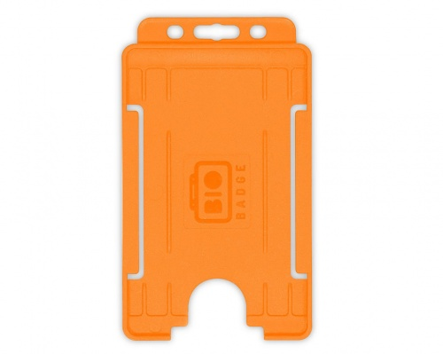 Orange Single-Sided BioBadge Open Faced ID Card Holder, Portrait x 100