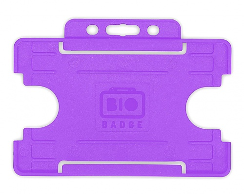 Purple Single-Sided Biobadge Open Faced ID Card Holder Landscape x 100