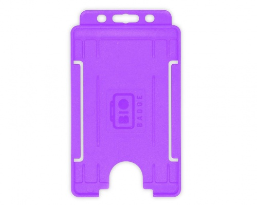 Purple Single-Sided BioBadge Open Faced ID Card Holder, Portrait x 100