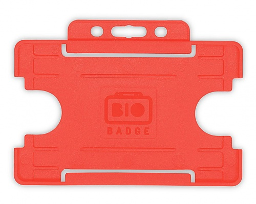 Red Single Sided Biobadge Open Faced ID Card Holder x 100
