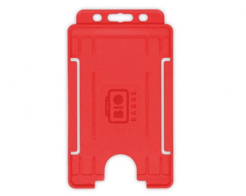 Red Single-Sided BioBadge Open Faced ID Card Holder, Portrait x 100
