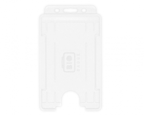White Single-Sided BioBadge Open Faced ID Card Holder, Portrait x 100