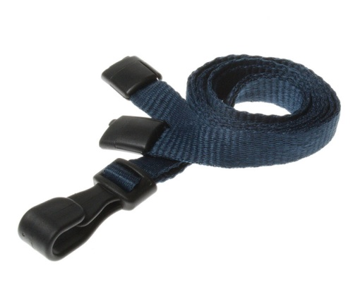 Plain Dark Blue Lanyards with Breakaway and Plastic J Clip (Pack of 100)