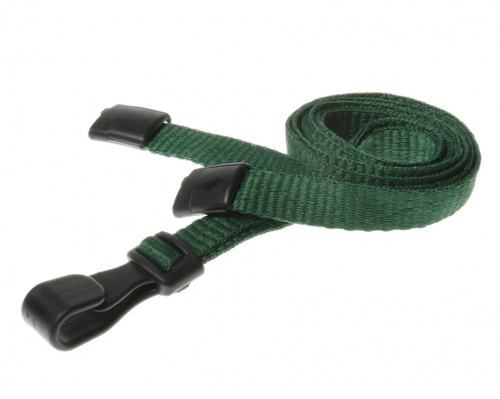 Plain Dark Green Lanyards with Breakaway and Plastic J Clip (Pack of 100)