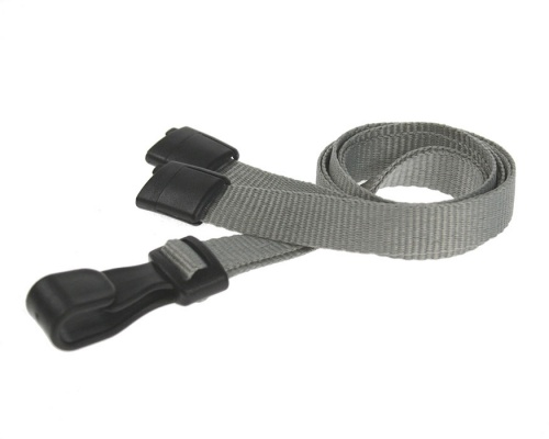 Plain Grey Lanyards with Breakaway and Plastic J Clip (Pack of 100)
