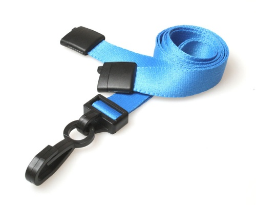 Plain Light Blue 15mm Lanyards with Breakaway and Plastic J Clip (Pack of 100)
