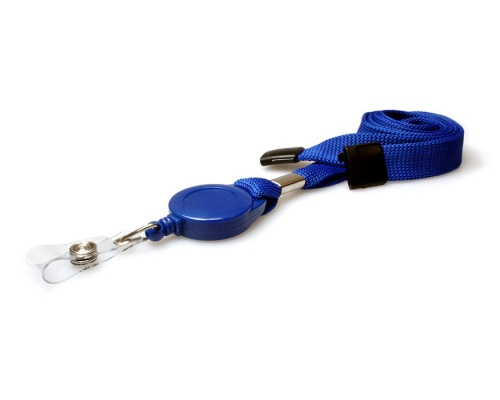 Plain Mid Blue 16mm Tubular Flexiweave Breakaway Lanyards with Badge Reel (Pack of 50)