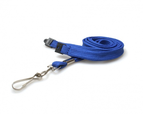 Plain Mid Blue 10mm Tubular Woven Breakaway Lanyard with Metal J-Clip (Pack of 100)