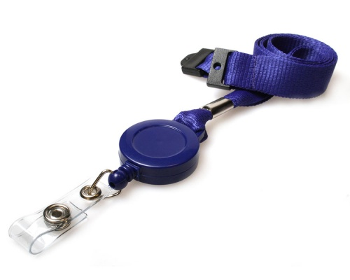 Plain Navy Blue 15mm Lanyards with Breakaway and Card Reel (Pack of 50)