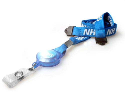 NHS Staff Lanyards with Dual Breakaway and Card Reel with NHS Dome (Pack of 100)