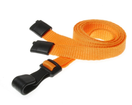 Plain Orange Lanyards with Breakaway and Plastic J Clip (Pack of 100)