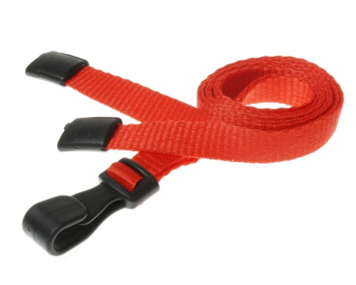 Plain Red Lanyards with Breakaway and Plastic J Clip (Pack of 100)