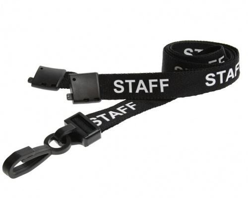Black Staff Lanyards 15mm with Breakaway and Plastic J-Clip (Pack of 100)