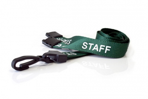 Green Staff Lanyards 15mm with Breakaway and Plastic J-Clip (Pack of 100)