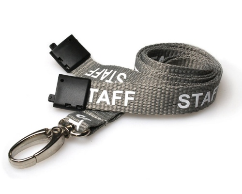 Grey Staff Lanyards 15mm with Breakaway and Metal Lobster Clip (Pack of 100)