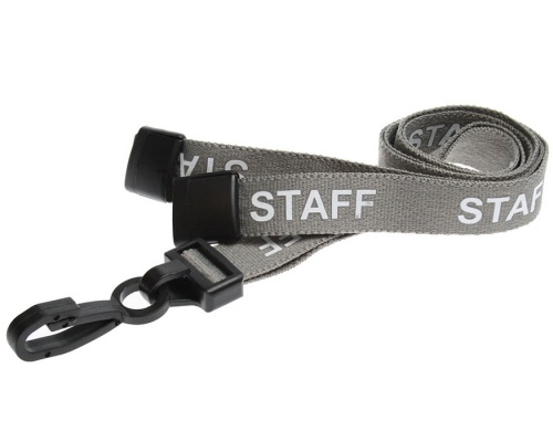 Grey Staff Lanyards 15mm with Breakaway and Plastic J-Clip (Pack of 100)