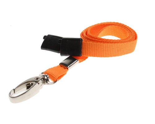 Plain Orange Lanyards with Breakaway and Metal Lobster Clip (Pack of 100)