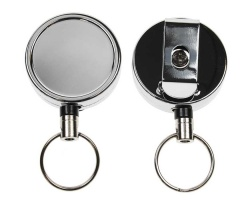 Chrome Heavy Duty ID Card Badge Reels with Key Ring (Pack of 50)