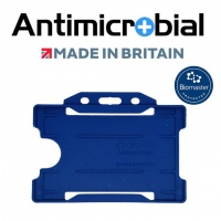 NHS Blue Antimicrobial Single Sided ID Card Holders - Landscape (Pack of 100)