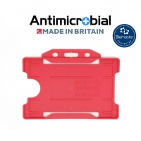 Red Antimicrobial Single Sided ID Card Holders - Landscape (Pack of 100)