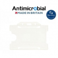 White Antimicrobial Single Sided ID Card Holders - Landscape (Pack of 100)