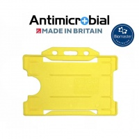 Yellow Antimicrobial Single Sided ID Card Holders - Landscape (Pack of 100)