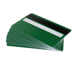 Forest Green Plastic Cards 760 Micron With Magnetic Stripe & Signature Strip (Pack of 100)