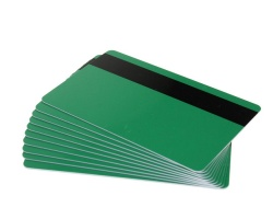 Green Plastic Cards With Hi-Co Magnetic Stripe - 760 Micron (Pack of 100)