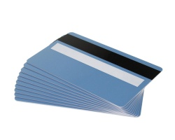 Light Blue Plastic Cards 760 Micron With Magnetic Stripe & Signature Strip (Pack of 100)