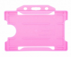 Pink Recyclable Evohold Single Sided Open Face ID Badge Holders – Landscape (Pack of 100)
