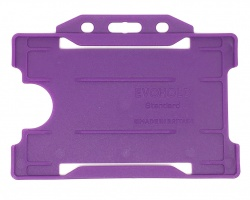 Purple Recyclable Evohold Single Sided Open Face ID Badge Holders – Landscape (Pack of 100)