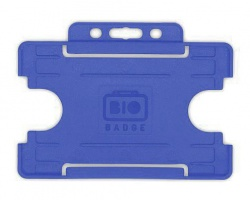Mid Blue Single Sided Biobadge Open Faced ID Card Holder x 100
