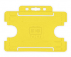 Yellow Single Sided BioBadge Open Faced ID Card Holder x 100