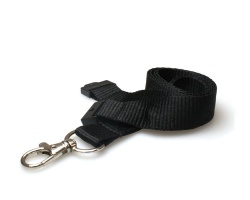 Plain Black 20mm Flat Woven Breakaway Lanyard with Metal Trigger Clip (Pack of 100)