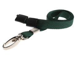 Plain Dark Green Lanyards with Breakaway and Metal Lobster Clip (Pack of 100)