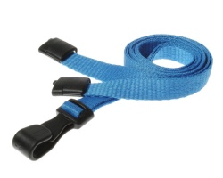 Plain Light Blue Lanyards with Breakaway and Plastic J Clip (Pack of 100)