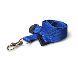 Plain Mid Blue 20mm Flat Woven Breakaway Lanyard with Metal Trigger Clip (Pack of 100)