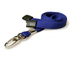 Plain Navy Blue Lanyards with Breakaway and Metal Lobster Clip (Pack of 100)
